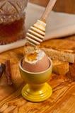 Miękka część gotujący jajko w jajecznej filiżance z chile natchnął miód dietę Zdjęcia Royalty Free