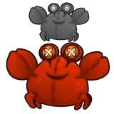 Miękka część zabawkarski gruby czerwony krab z oczami zapina wektor ilustracji