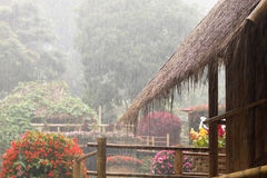 Miękka ostrość, deszcz kropla spada od słomianego dachu Obraz Stock