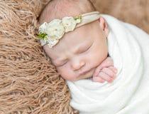Miękka skóra nowonarodzony dziecka dosypianie, zbliżenie obrazy royalty free