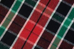 Miękka w kratkę wełny koc Zielona i czerwona szkockiej kraty tekstura, makro- strzał Wełny szkockiej kraty wzór Textured nawierzc Obraz Stock