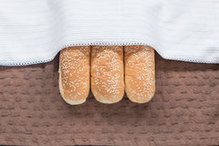 miękki chleb z sezamowym ziarnem na brązów ubraniach Obraz Stock
