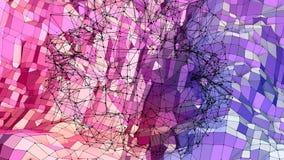 Miękki geometryczny niski poli- ruchu tło z czystymi błękitnej czerwieni wielobokami Abstrakcjonistyczna prosta błękitnej czerwie royalty ilustracja