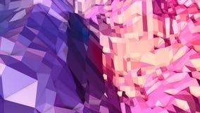 Miękki geometryczny niski poli- ruchu tło z czystymi błękitnej czerwieni wielobokami Abstrakcjonistyczna prosta błękitnej czerwie ilustracji