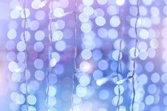 Miękki kolorowy bokeh tło Świecące girlandy elektryczny li Obraz Stock