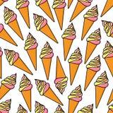 Miękki serw lody konusuje retro bezszwowego wzór royalty ilustracja