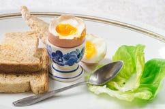 miękkie przegotowanej jajeczna fotografia stock