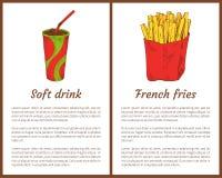 Miękkiego napoju i francuza dłoniaków wektoru ilustracja ilustracja wektor