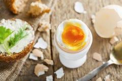 Miękkiej części gotowany jajeczny śniadanie Fotografia Royalty Free