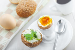 Miękkiej części gotowany jajeczny śniadanie Zdjęcie Royalty Free