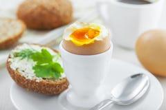 Miękkiej części gotowany jajeczny śniadanie Obrazy Stock
