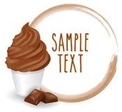 Miękkiej lody kubka rozmaitości czekoladowy wektor z białą tło ikoną royalty ilustracja