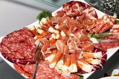 Mięsa i kiełbasa partyjny bufet Fotografia Royalty Free