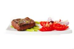 mięsa pieczeń słuzyć pomidor Obrazy Stock