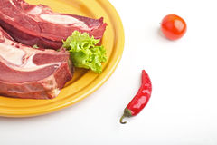 mięsa pieprzu talerza surowy sałatkowy pomidor Zdjęcia Stock