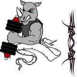 Mięsień nosorożec kreskówki sprawności fizycznej ciężaru stażowy gym Obraz Stock