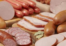 mięsne kiełbasy Zdjęcia Stock