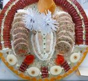 Mięsnej rolki cięcia w pięknej dekoraci Zdjęcia Stock