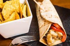 Mięsny burrito. zdjęcie royalty free