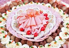Mięsny i serowy catering obrazy stock