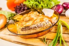 Mięsny kulebiak z grulą Fotografia Stock