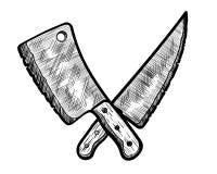 Mięsny Mądry i masarka nóż ilustracja wektor