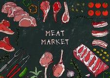 Mięsny rynek Mięśni cięcia wołowina, wieprzowina, baranek, stek, Bezkostny kuper, ziobro pieczeń, Loin i ziobro kotleciki -, Pomi Obraz Royalty Free