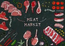 Mięsny rynek Mięśni cięcia wołowina, wieprzowina, baranek, stek, Bezkostny kuper, ziobro pieczeń, Loin i ziobro kotleciki -, Pomi Obraz Stock