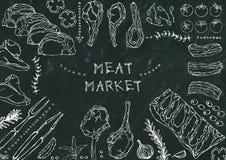 Mięsny rynek Mięśni cięcia wołowina, wieprzowina, baranek, stek, Bezkostny kuper, ziobro pieczeń, Loin i ziobro kotleciki -, Pomi royalty ilustracja