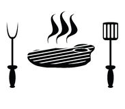 Mięsny stek i cutlery Zdjęcia Royalty Free