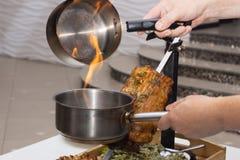 Mięso gotujący na węglu drzewnym Obraz Stock