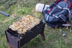 Mięso gotujący na wybrzeżu Fotografia Royalty Free