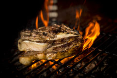 Mięso gotujący ogień Fotografia Royalty Free