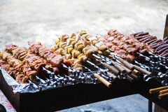 Mięso i grule przygotowywaliśmy dla smażyć na skewers Obrazy Royalty Free