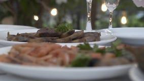 Mięso i ryba na talerzach Krzyż ostrość zdjęcie wideo