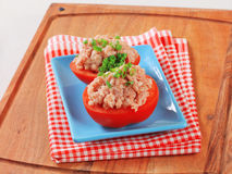 mięso minced faszerujących pomidory Obrazy Stock