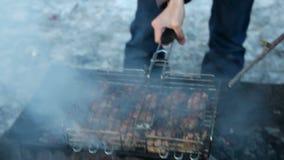 Mięso na grillu Kulinarny kurczaka mięso na gorącym węglu drzewnym przy zima wieczór Zbliżenie tradycyjny pykniczny naczynie zbiory