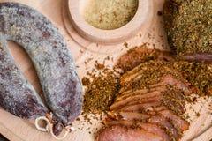 Mięso polędwicowy i kiełbasiany Zdjęcia Stock