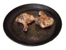 Mięso smażył w niecce l na białym tle Zdjęcia Stock