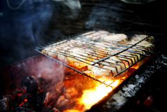 Mięso smaży na grillu Fotografia Royalty Free
