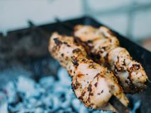 Mięso smaży na grillu Szaszłyk obrazy royalty free