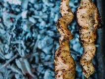 Mięso smaży na grillu Szaszłyk zdjęcia royalty free