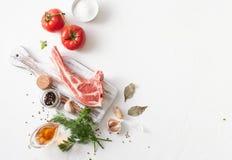 Mięso z pikantność dla grill marynaty na bielu zdjęcie stock