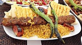 Mięso z ryż i chlebem Zdjęcia Royalty Free