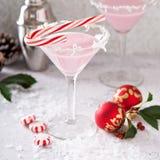 Miętowy Martini koktajl z kokosowym płatka obręczem Fotografia Stock