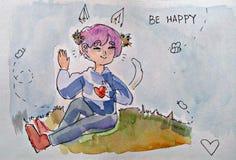 Miła ładna osoby dziewczyna lub chłopiec, lato ilustracja wektor