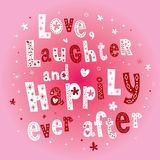 Miłość śmiech i Szczęśliwie Kiedykolwiek Póżniej royalty ilustracja