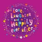 Miłość śmiech i Szczęśliwie Kiedykolwiek Póżniej ilustracji