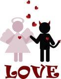 Miłość anioł i demon Fotografia Stock