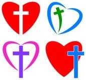 Miłość bóg chrześcijanina serce i krzyż Obrazy Royalty Free